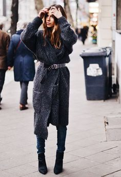 Belt your long wrap cardigan like blogger Maja Wyh  Like the concept but not the particular sweater belt combo here