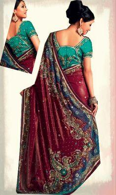 Fashion sari Bordeaux et Vert d'une matière en Brasso georgette et Tulle.  Idéal pour le mariage, fiançailles, henné. New style georgette sari embellit par des broderies en sequins, perles et pierres. Possède de tissu pour 2 bustiers, l'un des bustier richement brodé en coloris vert et l'autre assorti en coloris violet. Il est entièrement travaillé par des pierres, perles et zamkis. Possibilité de rallonger le hauteur du bustier.  Sari Nandana prix : 290€