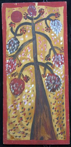 """Pico Bird / Tree of Life"" c. 1976 by Mose Tolliver 2- sided- plain wood bkg/signed lower left oil paint on plywood 17″ x 8″"