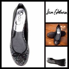 """Black Ballet Skimmer Flat Shoes Glitter Slip Ons NEW WITH TAGS RETAIL PRICE:   Sam Edelman Black Ballet Skimmer Flat Shoes Glitter Slip Ons   * Slip-on style & round toe (not pointy) w/bow detail at vamp.  * Ballet flat style appox 0.75"""" heel  * Glitter detail in material  * Trim detail  * Non-marking black logo sole  * True to size    Fabric: Manmade upper & rubber sole Color: Black Item:   No Trades ✅ Offers Considered*✅ *Please use the blue 'offer' button to submit an offer. Sam Edelman…"""