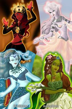 Fire, wind, water and earth by BFP ~ High Fantasy Dress Up