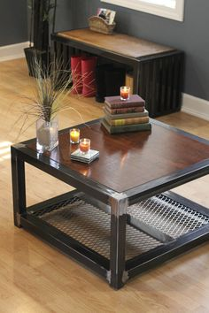Outstanding Steel Coffee Table Ideas : Glass Coffee Table With Stainless Steel Legs. Glass coffee table with stainless steel legs. Welded Furniture, Iron Furniture, Steel Furniture, Custom Furniture, Furniture Projects, Furniture Decor, Furniture Design, Vintage Industrial Furniture, Industrial Interiors