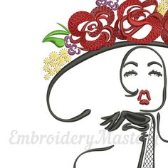 Woman machine embroidery design. Fashion embroidery. Beautiful Woman. Shick. Black dress. Woman in hat. Burlesque design. Cabaret. 3 sizes http://etsy.me/2Eeec5p #supplies #embroidery #woman #machineembroidery #design #fashion #beautifulwoman #shick #blackdress