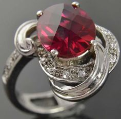 Sterling Silver Oval Cut Red Ruby Cubic Zirconia Ribbon Cocktail Ring Sz 8.5 in Jewelry & Watches, Fashion Jewelry, Rings | eBay