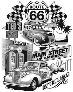 Vintage Cars Muscle Route 66 Main Street Jumbo Design Mens Short or Long Sleeve T Shirt 3849 Car Tattoos, Tatoos, Route 66 Road Trip, Vw Vintage, Car Drawings, Us Cars, Main Street, Vintage Posters, Colorful Shirts