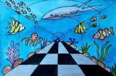 Its an amazing perspective drawing to show the underwater aquarium. Process video is available on you tube Aquarium Drawing, Underwater Drawing, Ocean Drawing, Perspective Drawing Lessons, Point Perspective, Kids Art Galleries, Middle School Art Projects, 6th Grade Art, Ecole Art