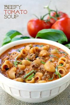 Tomato Recipes If you need a quick and comforting dinner that your whole family is going to love, this Beefy Tomato Soup is what you're looking for! - Beefy Tomato Soup is an easy and totally comforting soup dinner the whole family will love! Tomato Soup Recipes, Chili Recipes, Beefy Tomato Soup Recipe, Copycat Recipes, Quick Soup Recipes, Beef Soup Recipes, Simply Recipes, Cooking Recipes, Healthy Recipes