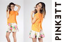 ¿Qué te parecería combinar nuestra blusa abierta color naranja con una mini de flores? ¡A nosotras nos encantó! Entra a www.pinkett.com.mx y arma tu outfit para este regreso a clases