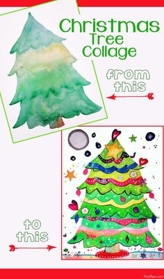 Are you looking for a fun art project to try over winter break with your kids? Here is one that is sure to be festive, fun and creative! What you will need: watercolor paints pencil watercolor pap… Christmas Art Projects, Christmas Collage, Christmas Tree Art, Christmas Arts And Crafts, How To Make Christmas Tree, Cool Art Projects, Christmas Ideas, Christmas Activities, Project Ideas