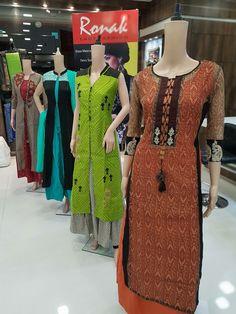 Kurti Neck Designs, Salwar Designs, Blouse Designs, Skirt Fashion, Fashion Dresses, Kurta Style, Indiana, Applique Dress, Indian Designer Wear
