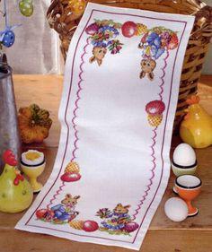 Cross Stitch Designs, Cross Stitch Patterns, Easter Crochet Patterns, Easter Bunny Eggs, Easter Cross, Easter Table, Pattern Paper, Cross Stitching, Table Runners