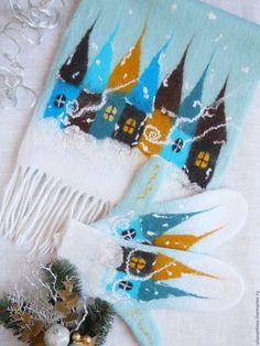 """Комплекты аксессуаров ручной работы. Ярмарка Мастеров - ручная работа. Купить Шарф и варежки """"Зимняя сказка"""" комплект мятный лед. Handmade."""