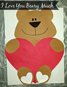 """""""I Love You Beary Much"""" Valentine Bear Craft For Kids - Crafty Morning"""