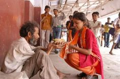 Sharing her excess food... humanity