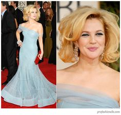 Drew Barrymore in a light blue John Galliano for Dior gown at the 66th