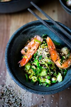 Brussel Sprout Hash with Shrimp and Furikake -a quick and healthy Japanese-inspired stir fry that can be made in under 30 minutes, a delicious weeknight dinner! Gluten-free, Low carb, Paleo!#brusselsprouts #shrimp #keto #paleo #lowcarb #stirfry #weeknightdinner #brusselsprouthash #japanese Healthy Asian Recipes, Healthy Gluten Free Recipes, Healthy Dinner Recipes, Indian Food Recipes, Whole Food Recipes, Paleo, Healthy Meals, Lean Recipes, Savoury Recipes