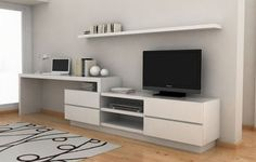 Want a setup like this. Modern Tv Units, Muebles Living, Tv Wall Decor, Tv Unit Design, Tv In Bedroom, Living Room Tv, Home Office Design, Small Apartments, Home Furniture