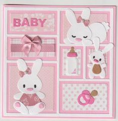 Dog Cards, New Baby Cards, Kids Cards, Side Step Card, Baby Shower Labels, Marianne Design Cards, Baby Scrapbook Pages, Bear Crafts, Step Cards