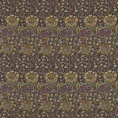 WINGBACKS William Morris & Co  Kennet first registered in 1883. Colorway Grape/Gold,  Collection Archive Prints,  Width 137cm (approx),  Vertical Repeat  67cm (approx),  Pattern Match-Straight,  Composition 49% Linen 38% Cotton 13% Nylon