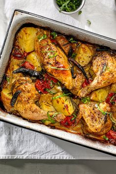 NYT Cooking: For this simple bake of chicken, potatoes and tomatoes, I borrowed a technique from the Italian island of Ischia, where rosemary, fennel and other herbs grow wild in the hills.<br/><br/>Because the island was formed by volcanic activity (Pomp Chicken Potato Bake, Chicken Potatoes, Baked Chicken, Baby Potatoes, Roast Chicken, Parmesan Recipes, Herb Recipes, Chicken Recipes, Chicken Meals