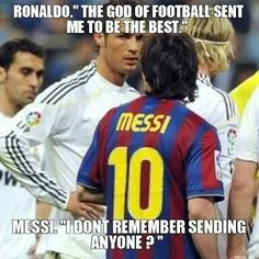 Messi is so wimpy. I can think of many players that are better then messi Funny Football Memes, Funny Sports Memes, Sports Humor, Funny Memes, Soccer Humor, Hilarious, Funny Soccer Quotes, Funny Quotes, Funny Sports Pictures