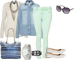 Perfect casual yet polished look- mint jeans, chambray, cardigan and flats <3