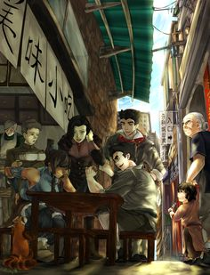 Avatar: Legend of Korra - Pabu, Korra, Asami, Mako, and Bolin Korra Avatar, Team Avatar, Avatar World, Avatar The Last Airbender Art, Avatar Series, Iroh, Korrasami, Fan Art, Zuko