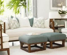 indianriverfurniture Cool Greens and cream with wood detailing bring the classic Tommy Bahama look to living room. Tommy Bahama Home - Bringing the resort to your home.🏖️🍹🌴😎 Find this Ocean Club set by Tommy Bahama from Lexington Furniture at Indian R Home Goods Furniture, Colonial Furniture, Furniture Styles, Furniture Design, Teak Furniture, British Colonial Bedroom, Lexington Furniture, New Wall, Decor Interior Design