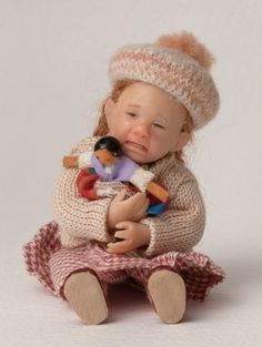 Catherine Muniere 1:12 dolls' house girl toddler with beret and peg doll | eBay