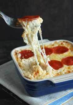 A lot of cheese stars in this cauliflower recipe, creating the perfect pizza casserole.