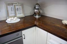 Minwax's Dark Walnut 2716 wood stain on ikea butcher block countertop.