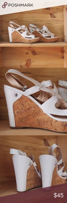 Guess Hope Cork Wedges Alligator style texture white uppers with cork wedge heel.  New without Box.  Possibly some losses to the cork heel as seen in photos but may be natural variation. Guess Shoes Wedges