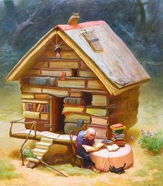 This is where I imagine all my fellow book lovers will retire. I Love Books, Books To Read, My Books, Reading Books, Reading Art, Illustration Art, Illustrations, World Of Books, Jolie Photo
