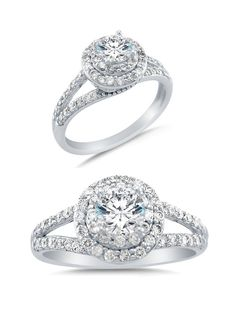 Solid 14k White Gold Cirque Halo Round Brilliant Cut Solitaire with Round Side Stones Highest Quality CZ Cubic Zirconia Engagement Ring 1.25ct.