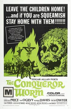 The Conqueror Worm in the US aka Witchfinder General (1968) with Vincent Price - Movie Poster  https://www.youtube.com/user/PopcornCinemaShow