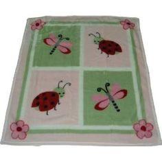"Kids Line ""Lady Bug"" High Plush Pile Blanket, (nursery decor, kids line, nursery window treatments, window treatments, baby stuff, beetle, rugs, lady bug decor, kidsline, lady bug)"
