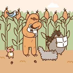 How to Beat a Corn Maze - Pusheen Comics Cute Cartoon Drawings, Cute Kawaii Drawings, Cute Animal Drawings, Gato Pusheen, Pusheen Love, Wallpaper Iphone Cute, Cute Wallpapers, How To Draw Pusheen, Maze Drawing
