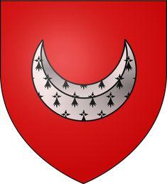 """Blason Charles de La Porte: De gueules au croissant d'hermine. - 3).. général pour les sièges, on le surnommait """"le preneur de villes"""". En 1635 il est lieutenant général des armées du roi. En 1636 le cardinal de Richelieu le dépêche à Port-Louis pour rendre la citadelle de la ville inexpugnable; il dira du maréchal de la Meilleraye qu'il est """"un des hommes du plus grand mérite, de la plus constante faveur, et le plus comblé de son temps""""."""