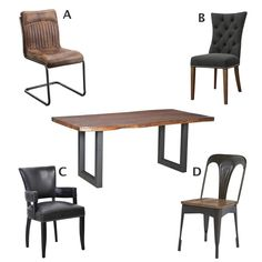 Which of these chairs would you pair with this dining table that has country charm with an urban flair?