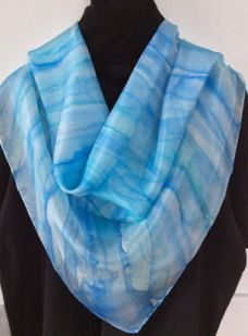 Large square silk scarf hand painted in blue hues