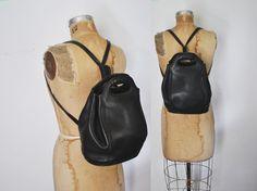 COACH Backpack Bookbag / black Leather bag by badbabyvintage on Etsy