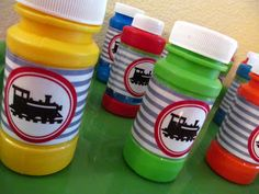 Train Birthday Party - Lots of free printables linked on this blog post. Cute stuff.