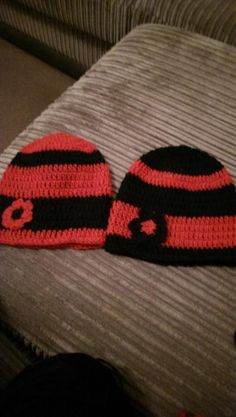 black and red beanies for two girls - Crochet creation by maggie craig