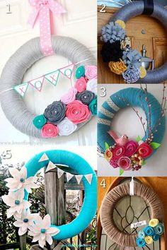 Spring Yarn Wreath with Rag Braid Flowers