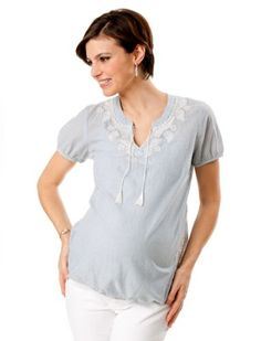 A Pea in the Pod: Short Sleeve Sleeve Detail Maternity Shirt $39.99