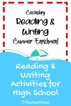 A summer reading packet filled with reading and writing activities for high school students to build or freshen reading and writing skills during the summer. Reading Resources, Reading Skills, Writing Skills, Teacher Resources, Argumentative Writing, Narrative Writing, Enrichment Activities, Writing Activities, Writing Practice