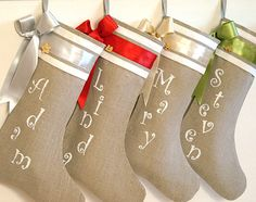 I think this is what I need.  Personalized Burlap Christmas stockings by KatysHomeDesigns, $34.00