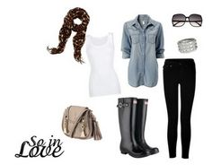 chambray top, black skinny pants, white tank, leopard scarf and black hunter boots #fall2013 #winter2013