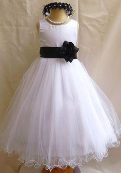 Flower Girl Dress WHITE/Black FL Wedding Children Easter Bridesmaid Communion Black Guava Coral Rose Purple White Peach Orange Lilac Pink
