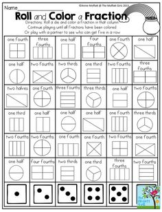 This is a great activity when teaching fractions. It lets students play a fun game with a partner and learn about fractions at the same time. I also think one student could roll 2 die and try and get all the fractions with those die. Teaching Fractions, Math Fractions, Teaching Math, Equivalent Fractions, Fractions For Kids, Ordering Fractions, Comparing Fractions, Dividing Fractions, Teaching Spanish